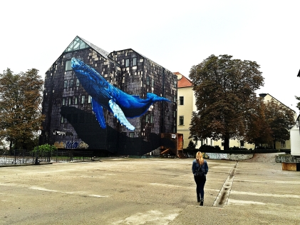 Building mosaic of a whale, Zagreb